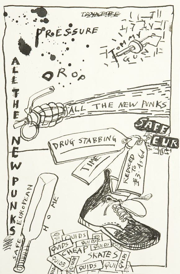 Drawing for songbook,12 x 8 1/4″. Derek Boshier 1979 courtesy Flowers Gallery