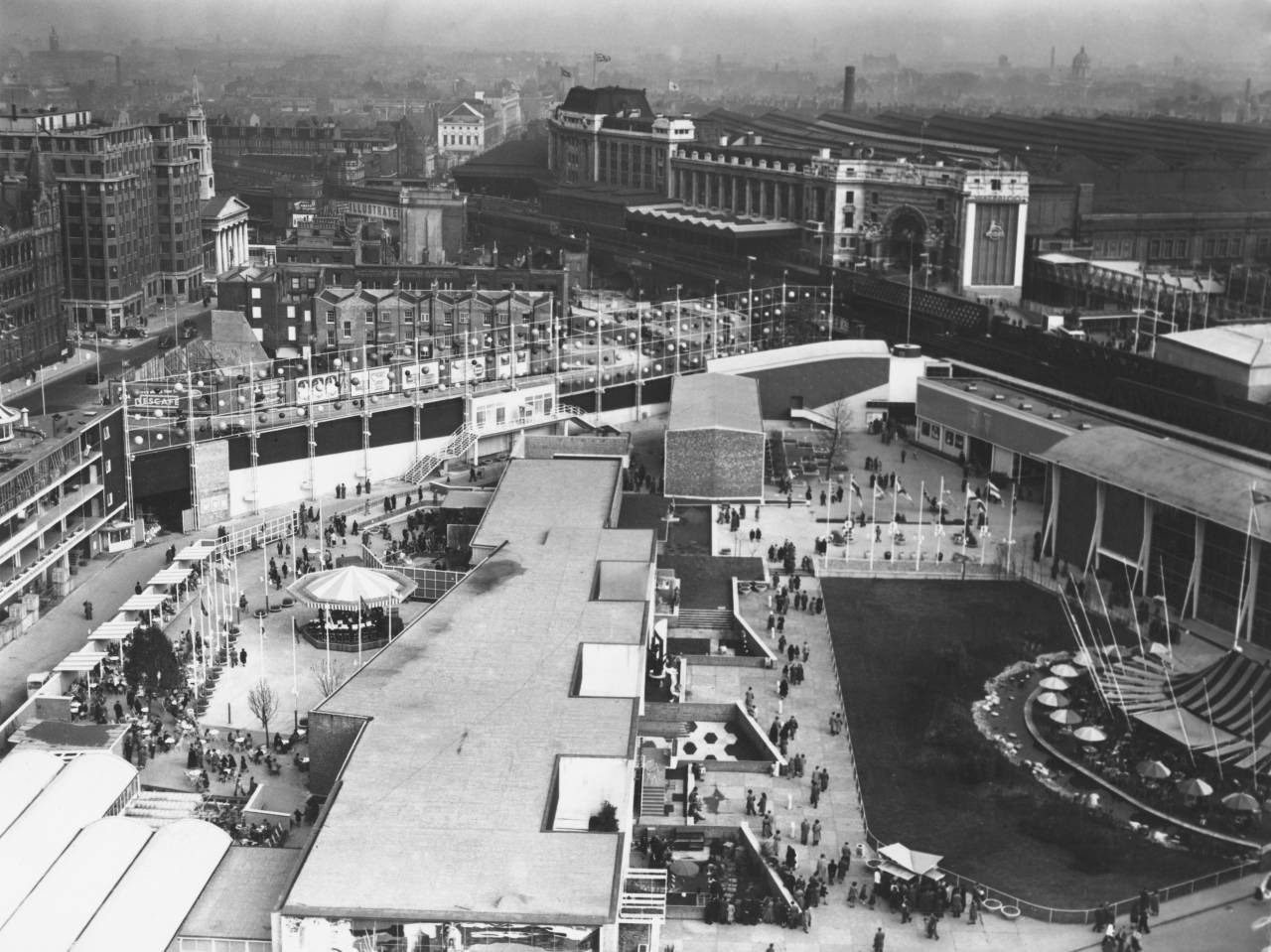 A view over the Festival of Britain site, looking south towards Waterloo Station from the Shot Tower on the South Bank, London, May 1951. (Photo by Daily Express/Hulton Archive/Getty Images)