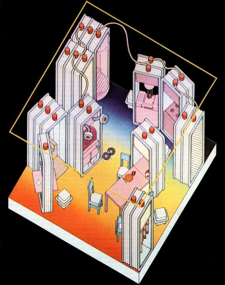 Furnishing Concept by Ettore Sottsass Designer Ettore Sottsass. From the book that accompanied the 1972 Museum of Modern Art exhibition, Italy: The New Domestic Landscape.