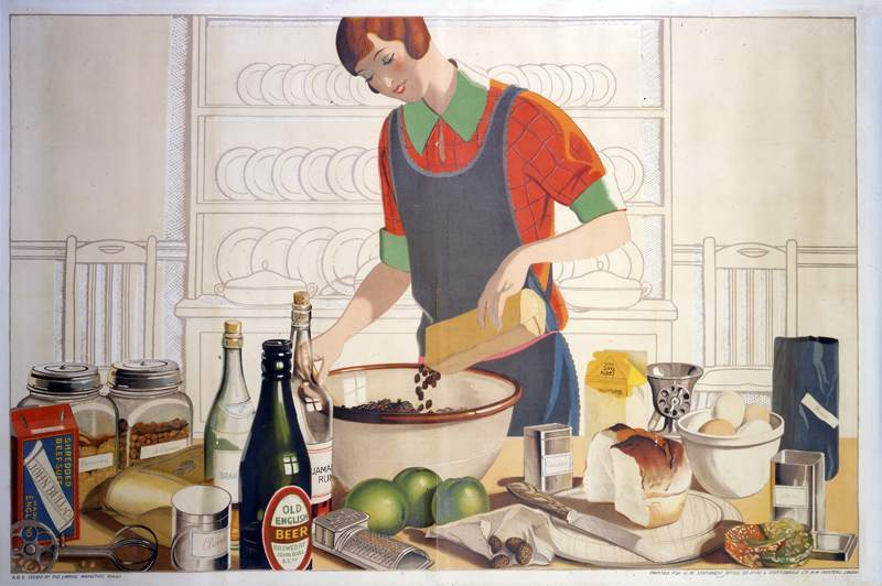 Making the Empire Christmas pudding', artwork by F C Harrison c.1930.