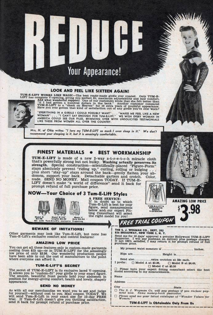 reduce weight bust 1950s advertising