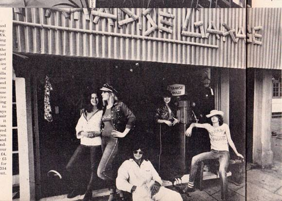 Outside 430 King's Road (from left) summer 1971: Unknown, assistant Lisa Petersen, manager Roly Poltock, designer Diana Crawshaw and founder Trevor Myles. Photograph: Julian Allason.