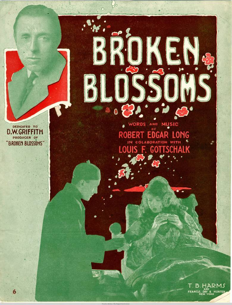 Sheet Music for Broken Blossoms direct by DW Griffith in 1919.