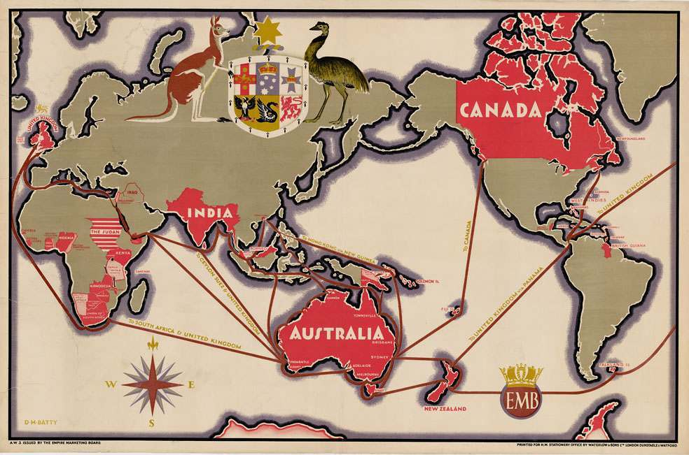 Shipping Lanes Between Empire Countries D.M. Batty c.1930.
