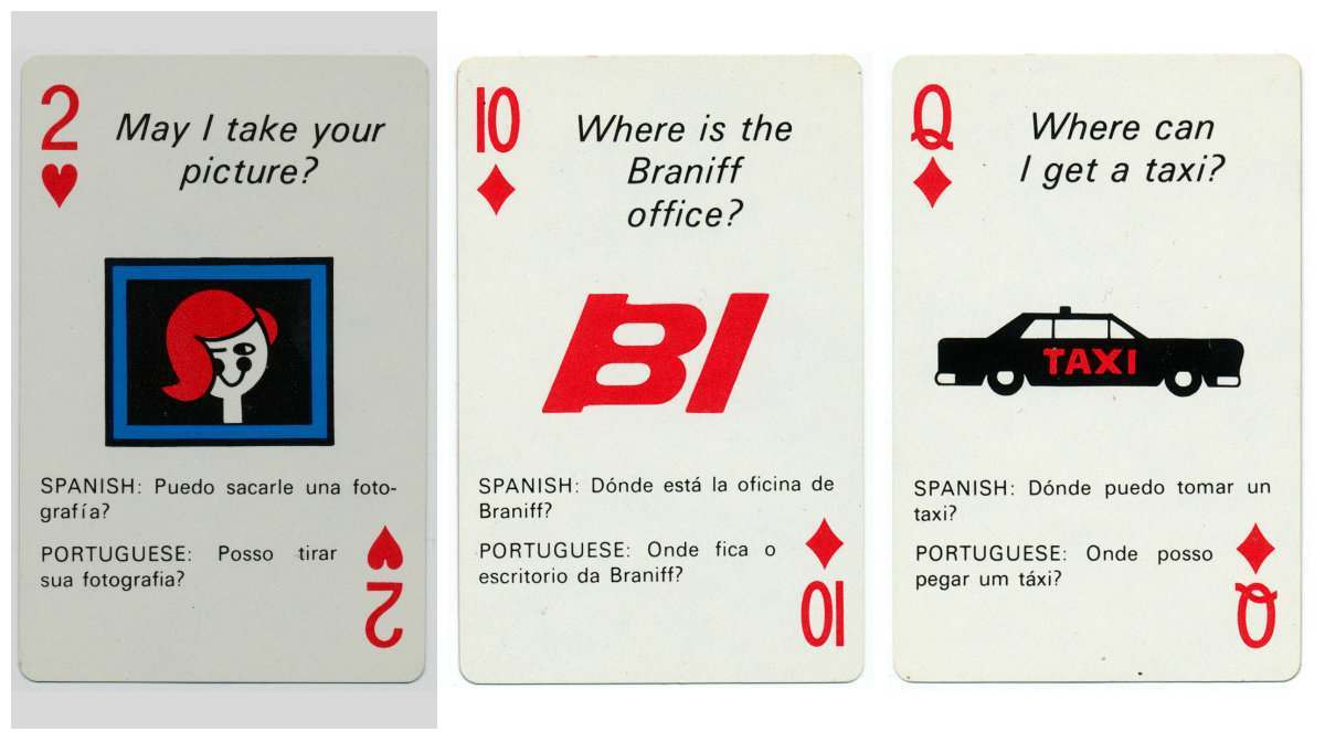braniff playing cards 1968