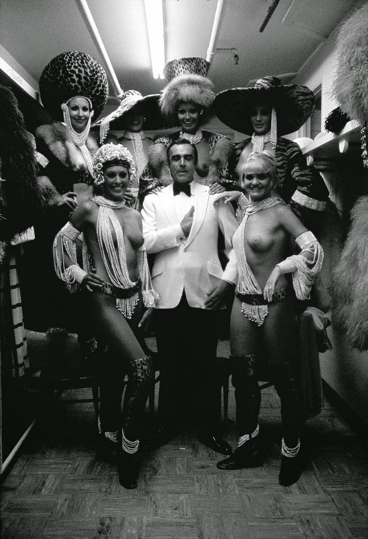 Behind the scenes in Las Vegas. Who were more pleased, Sean Connery or the showgirls.