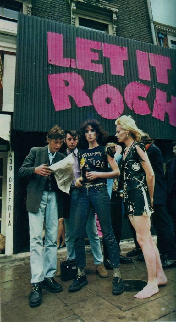 Sutch helped McLaren paste the pink letters onto the Let It Rock facade. In this July 1972 photo by Masayoshi Sukita for An An magazine, Teds congregate outside the shop with assistant Addie Isman and designer Vivienne Westwood