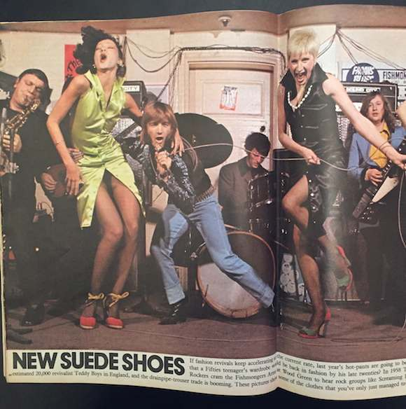 Sutch in Hans Feurer photograph with Let It Rock feature in The Sunday Times Magazine, May 14, 1972. Designer Diana Crawshaw has pointed out that the sleeveless dresses date from 430 King's Road's previous incarnation, Paradise Garage