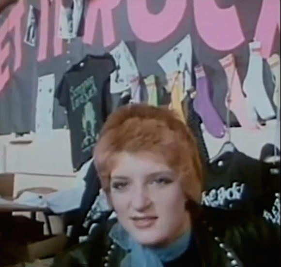 McLaren incorporated the image into a Screaming Lord Sutch t-shirt, featured behind assistant Yvonne Gold at the Let It Rock stall at Wembley Stadium, August 1972. From London Rock N Roll Show, directed by Peter Clifton