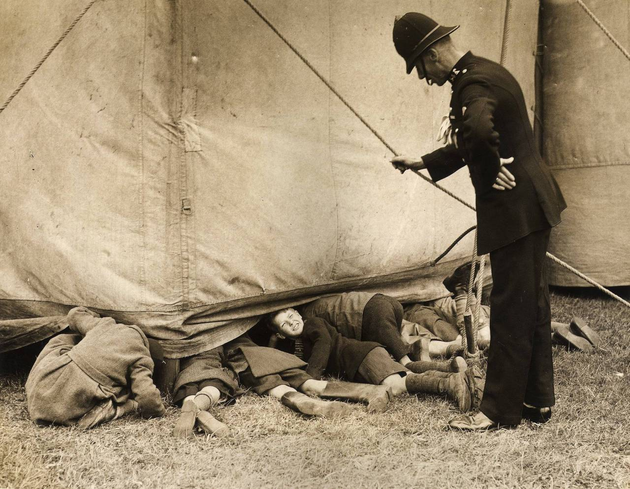 Policeman outside the tent during rehearsals in Luton of the circus in April 1938