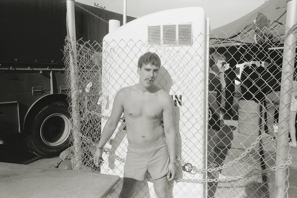 At a seaside temporary jail set up by Daytona police. Drinking on the beach is illegal and well policed in Daytona Beach, Fla. in 1987. (W. Keith McManus)