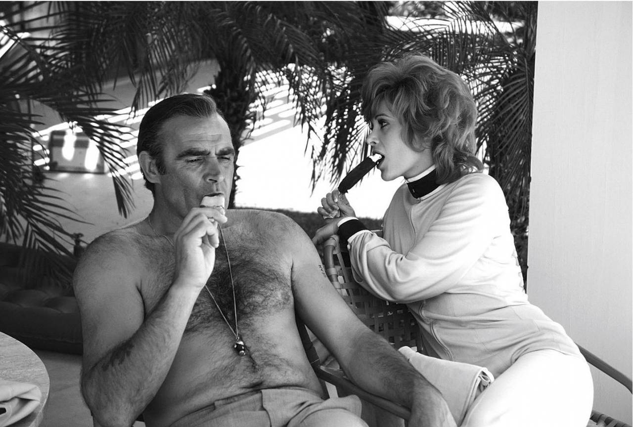 Sean Connery And American Actress Jill St John Relax On