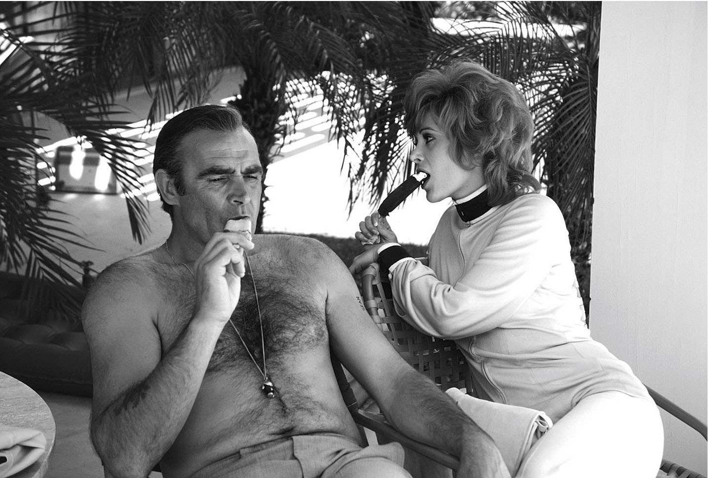 Sean Connery and Jill St John while filming Diamonds Are Forever