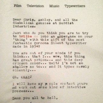 Tom Hanks Writes A Great Letter On A 1934 Smith Corona Typerwriter