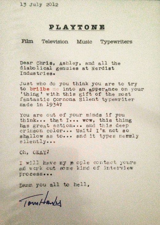 tom hanks typewriter letter bribe 1934