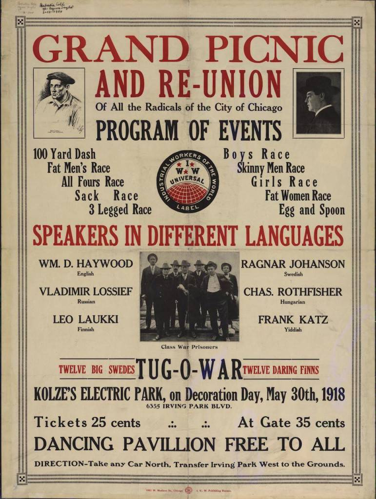 """Grand picnic and re-union of all the radicals of the city of Chicago"" (1918), Industrial Workers of the World"