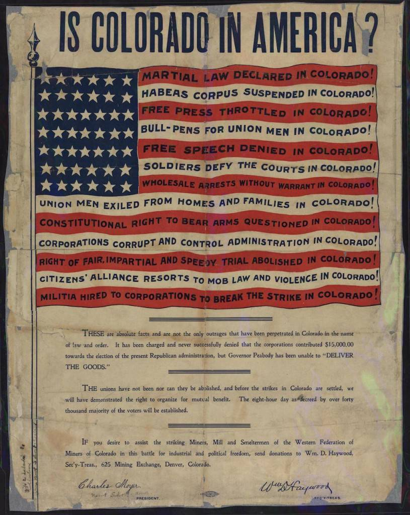 """""""Is Colorado in America?"""" (1906), Western Federation of Miners, created by Charles Moyer and William D. Haywood"""