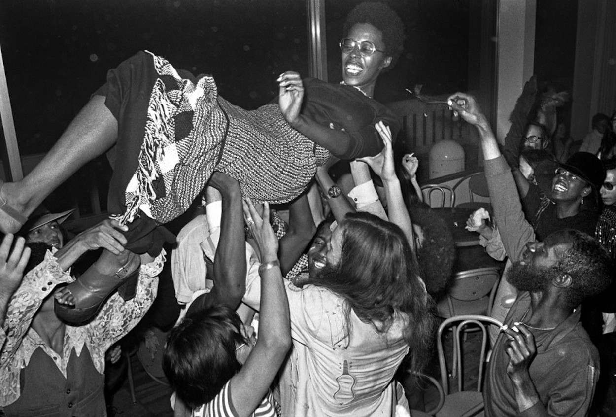 1970s art college crowd surfing
