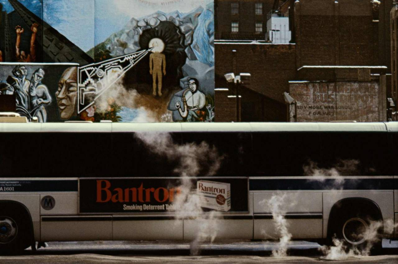 1984, New York, bus with steam