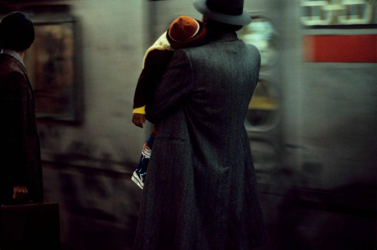 1984, New York, father and son in the subway