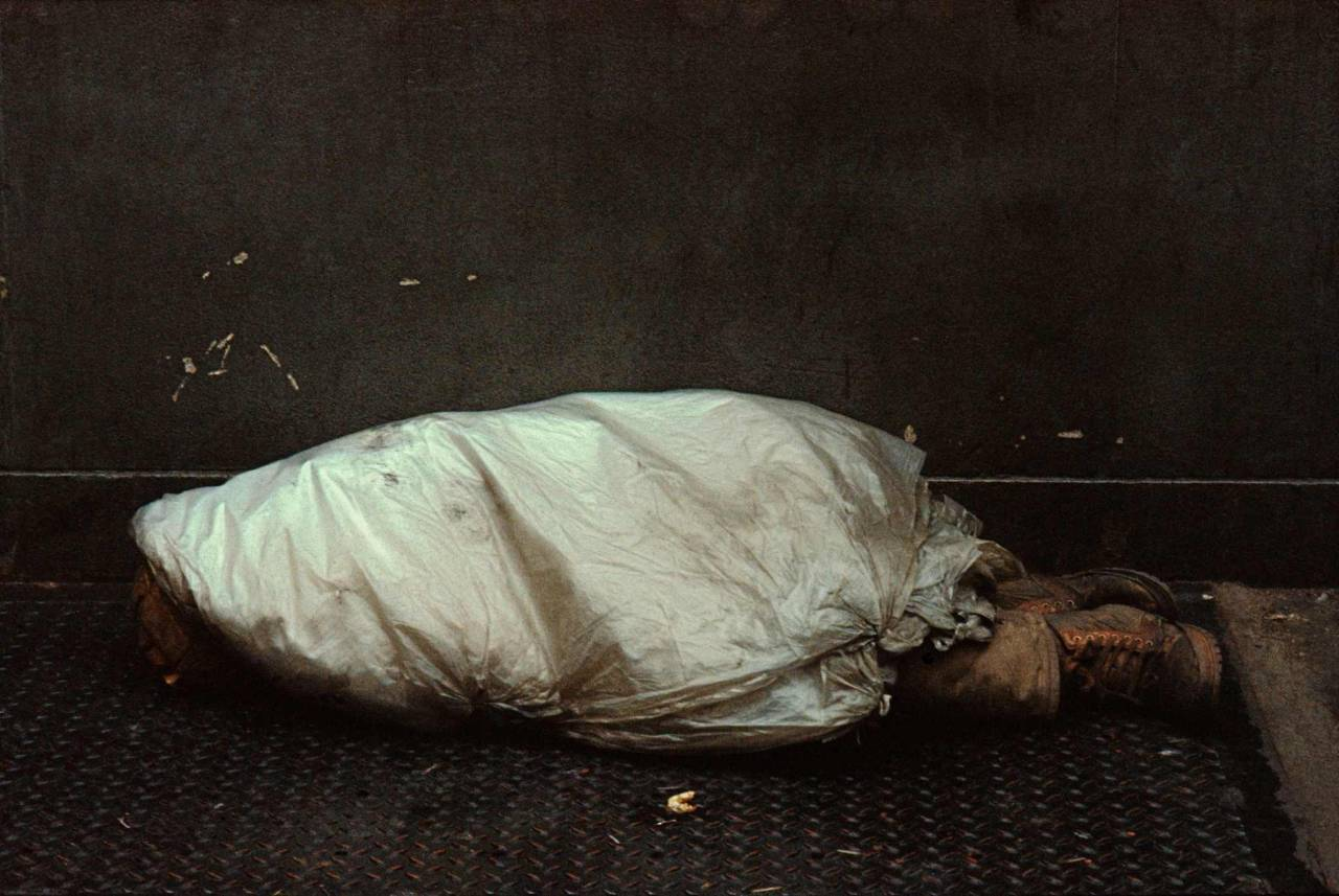 1984, New York, homeless person, under plastic