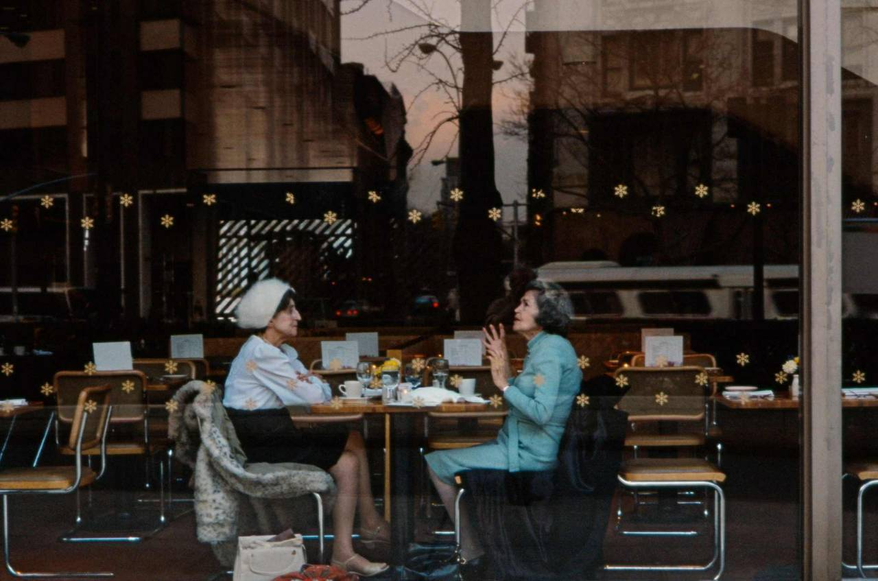 1984, New York, woman in a cafeteria