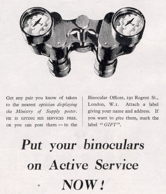 Binoculars gift 25 January, 1941 issue of The Sphere