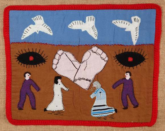 "Dónde están nuestros hijos (""Where are our children?""). Chilean Arpilleras wall hanging, Roberta Bacic collection. Photo: Martin Melaugh"
