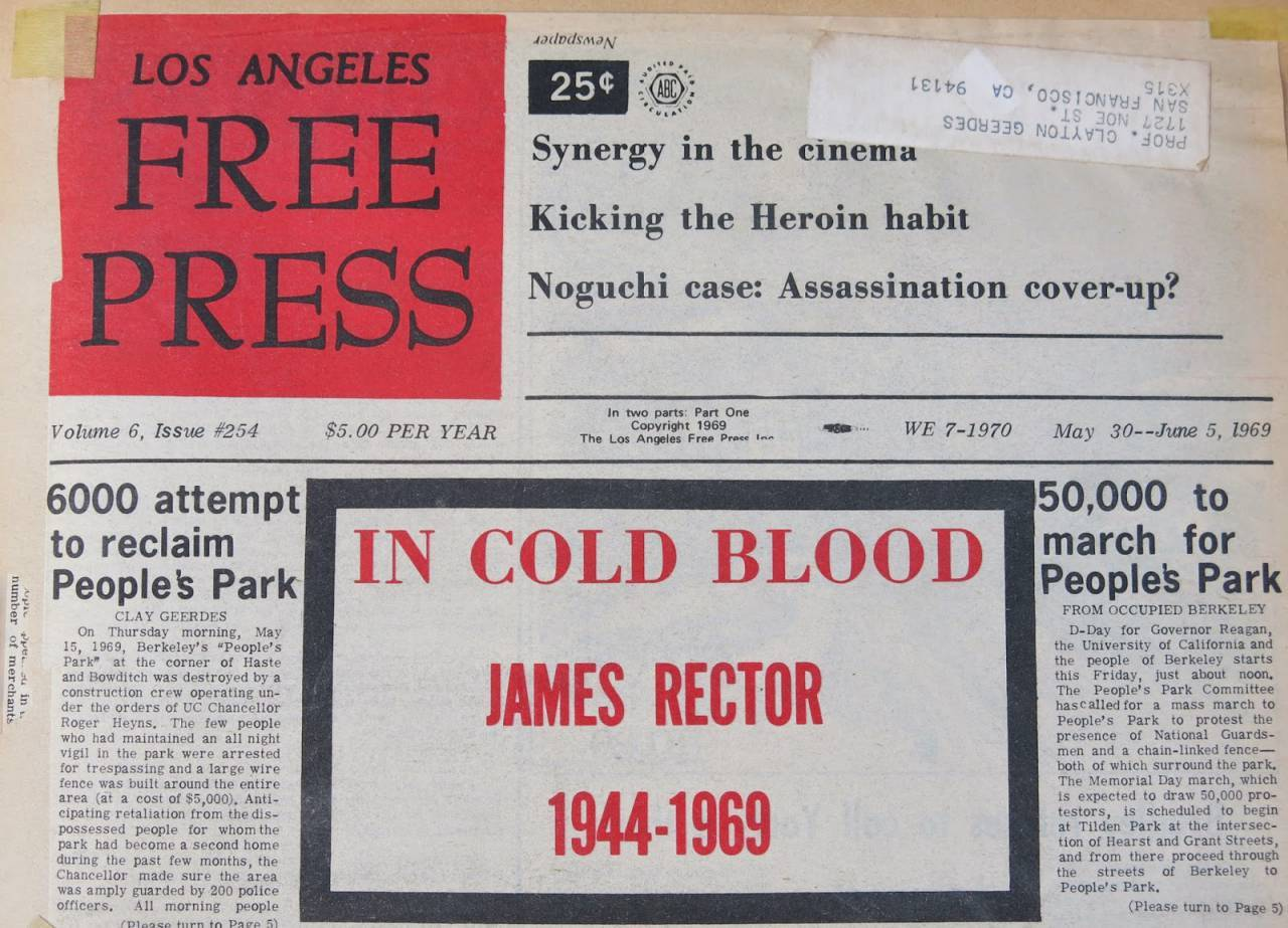 Below are two examples of Clay's reports on People's Park, as they appeared in the Los Angeles Free Press.