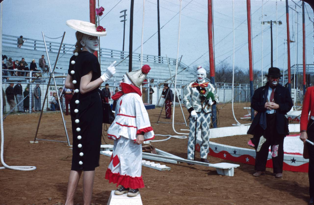 Clowns at Gainesville Circus, Texas c.1954