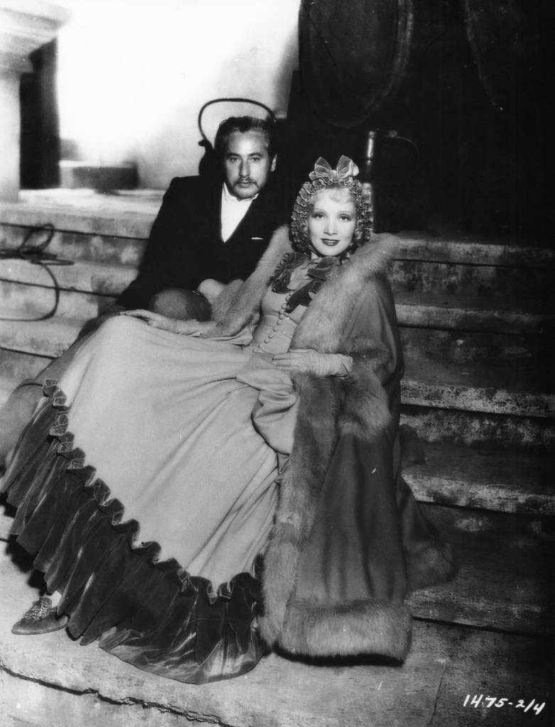 Director Josef von Sternberg and Marlene Dietrich on the set of The Scarlet Empress, 1934