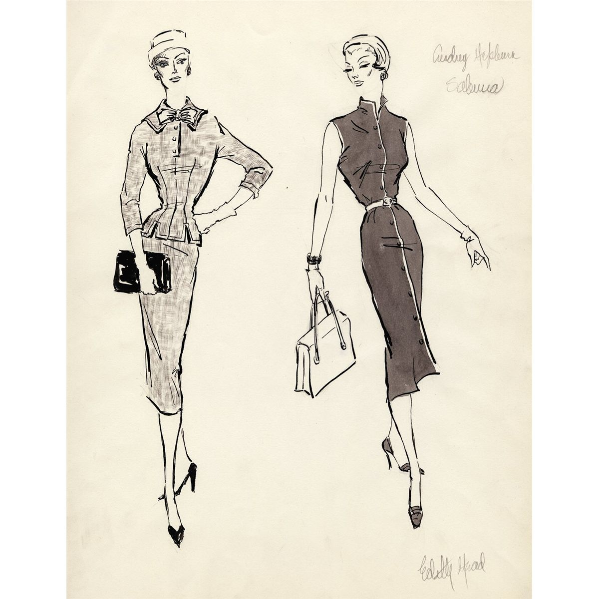 Edith Head drawings for Hepburn's costumes in Sabrina