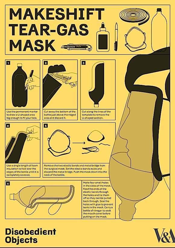 How To guide: Makeshift Tear-Gas Mask. Illustrated by Marwan Kaabour at Barnbrook