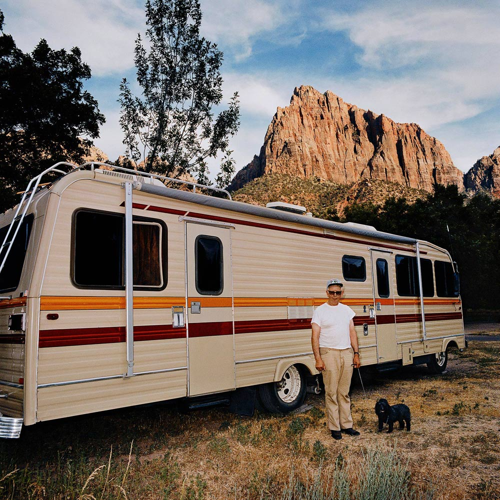 Man-with-Dog-Motorhome-Zion-Canyon-National-Park-UT-1980