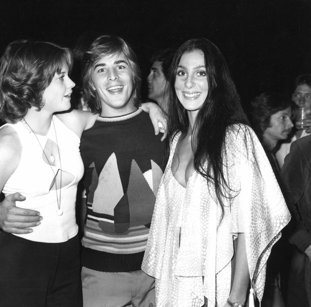DON JOHNSON AND MELANIE GRIFFITH WITH CHER - AT JOHNSON AND GRIFFITH'S WEDDING RECEPTION IN BEL-AIR, LOS ANGELES, AMERICA JAN 1976