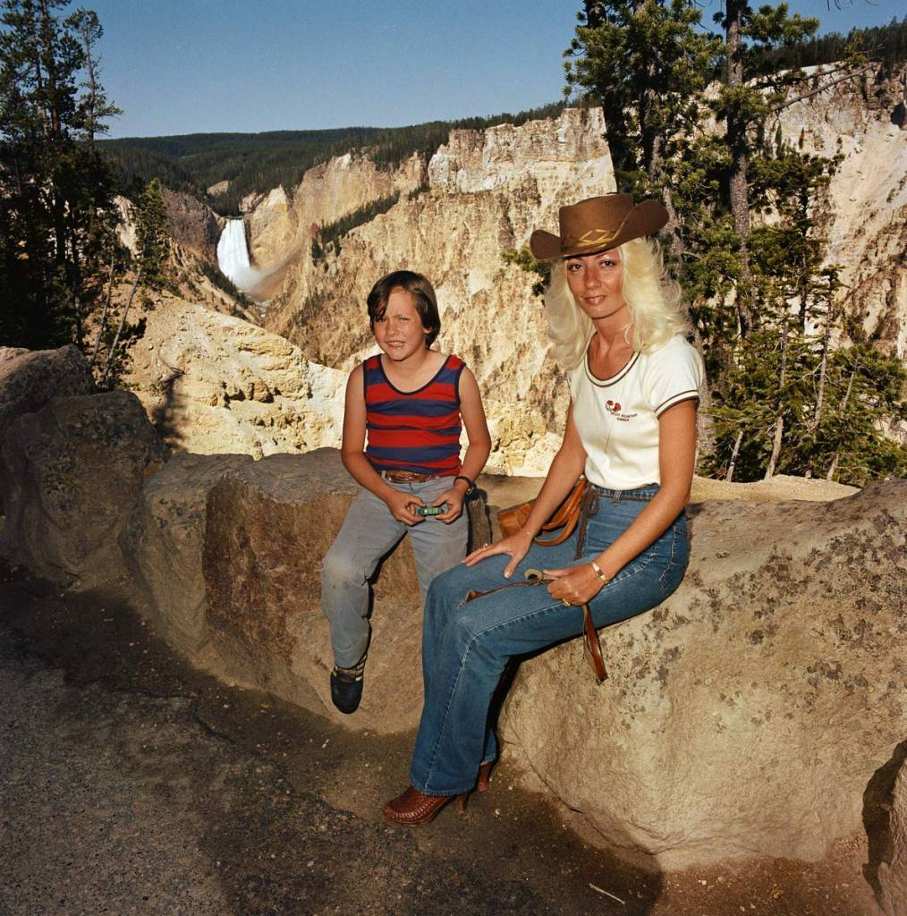 Mother-Son-at-Lower-Falls-Overlook-Yellowstone-National-Park-1980