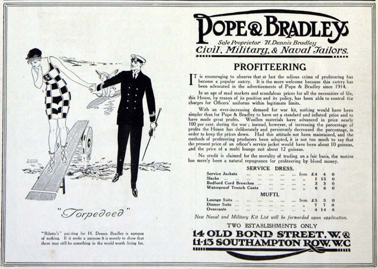 Pope and Bradley advert against spivs