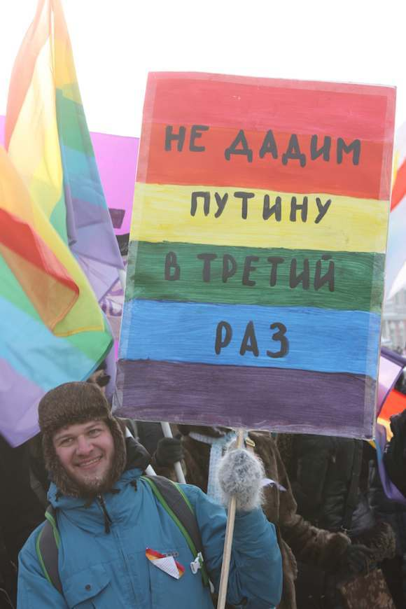 Protestor – who has subsequently had to leave Russia – with his placard, which was collected by Flood herself. She was in Moscow taking an exhibition down when the protests were on