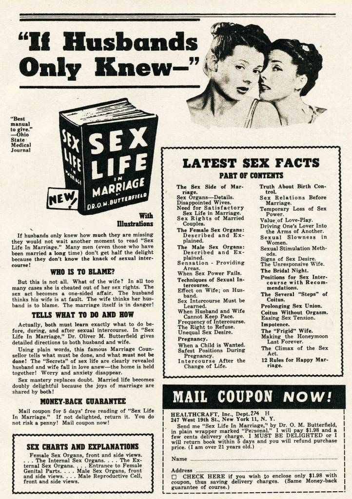 Sex Instruction Book Ads vintage
