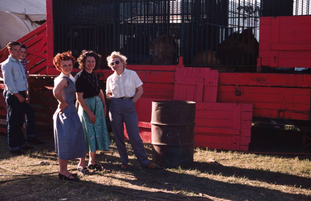 Shirley, Dorrie Orton, and Gracie at the Kelly-Miller Circus, 1954