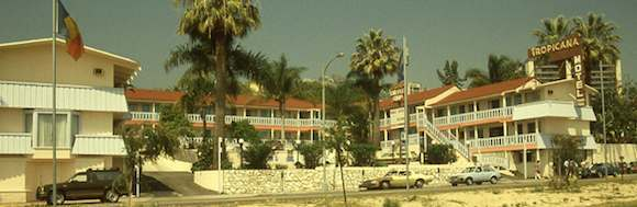 60s postcard for The Tropicana Motel and Motor Lodge, 8585 Santa Monica Blvd, West Hollywood, CA