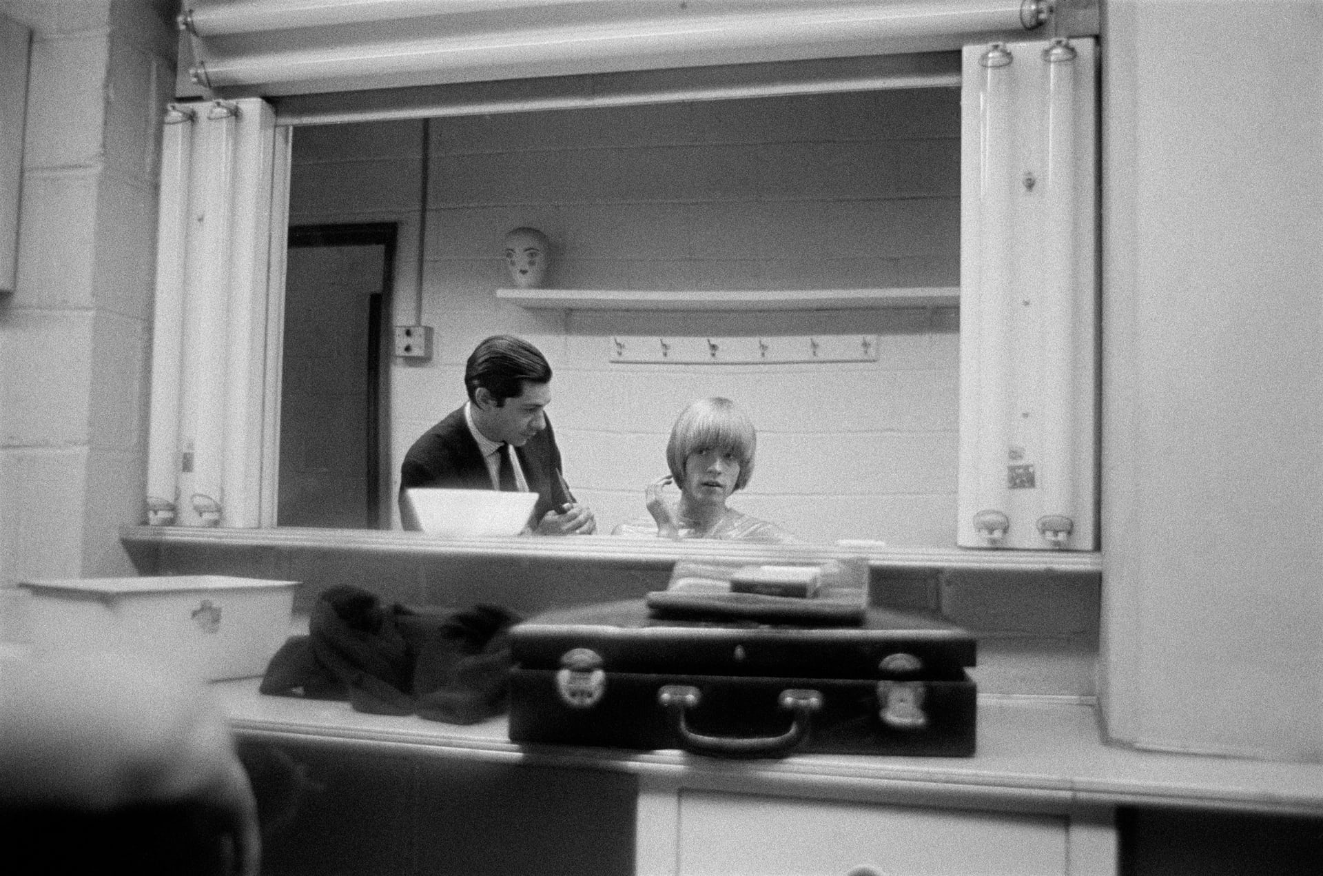 Brian gets his haircut at NBC (October 1965) 'He was very vain about his hair and is pictured here having it trimmed by the NBC studio hairdresser when the band appeared on the Hullabaloo TV show in New York'