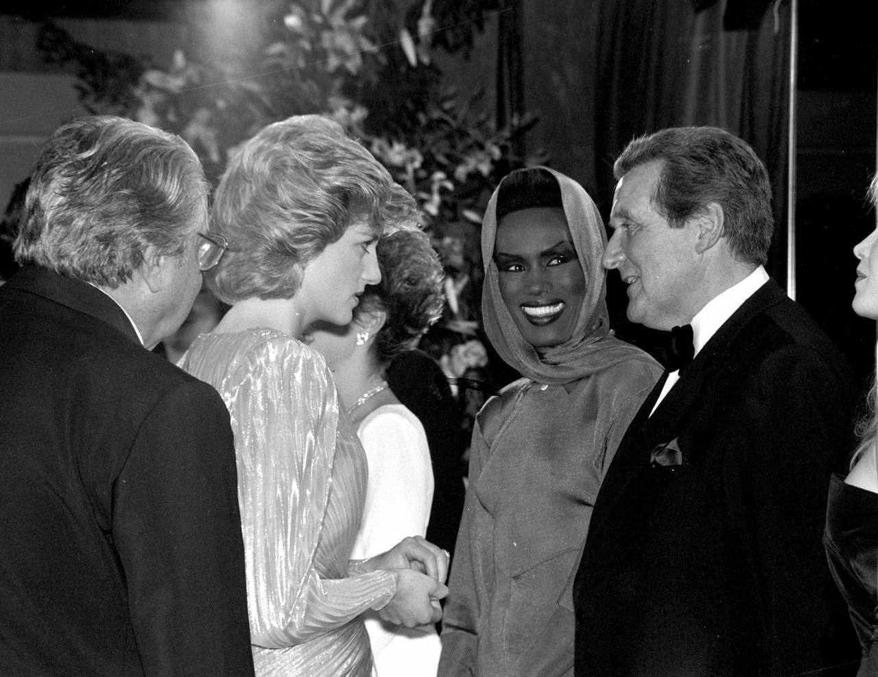 "ALBERT ""CUBBY"" BROCCOLI, PRINCESS DIANA, GRACE JONES, PATRICK MACNEE,""A VIEW TO A KILL"" PREMIERE. 12/06/85 'A View To A Kill' film premiere, London, Britain - 12 Jun 1985"