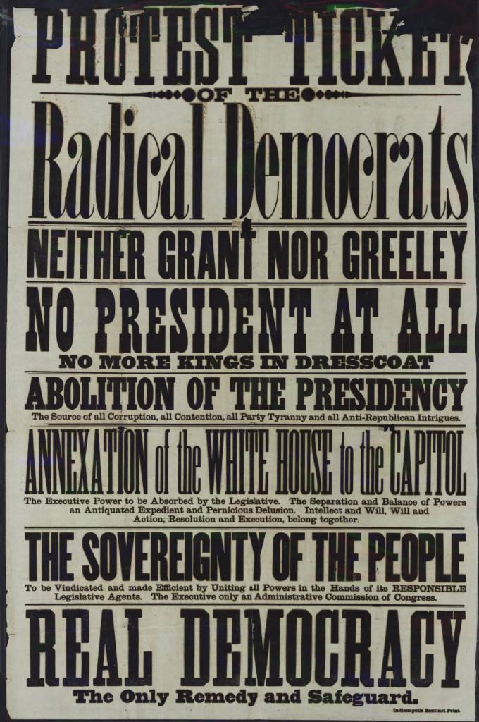 Protest Ticket of the Radical Democrats Year 1870? City Indianapolis