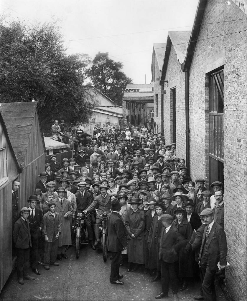 September 1918 Belgian refugees outside the Belgian Munition Works in London