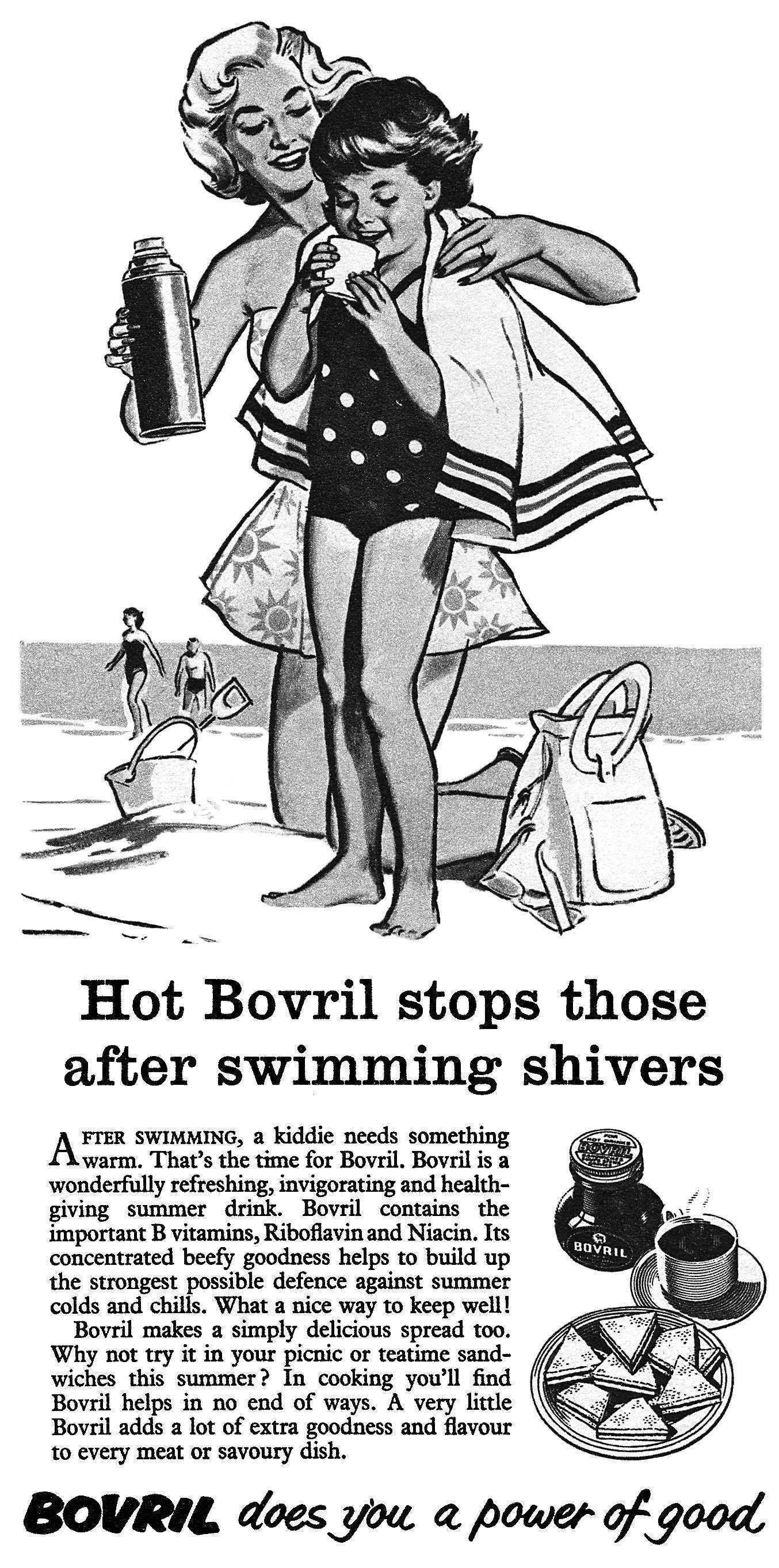 1959 Bovril ad After Swimming Shivers