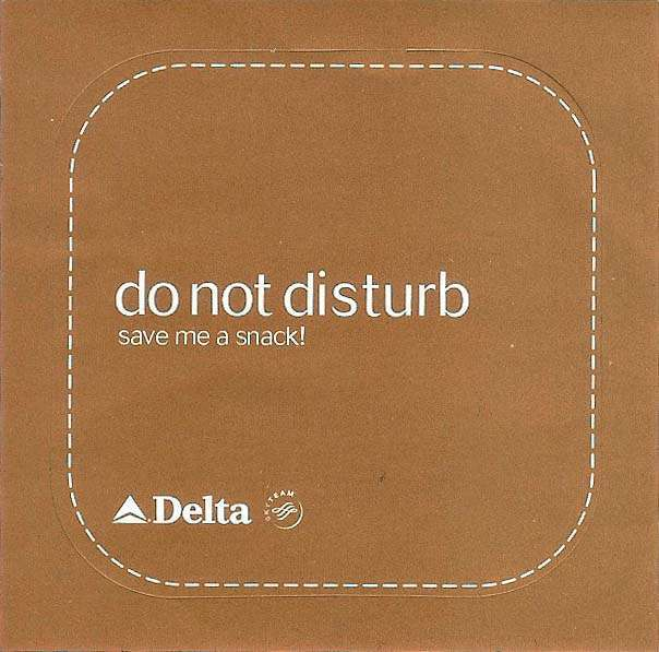 Delta Airlines do not disturb sign