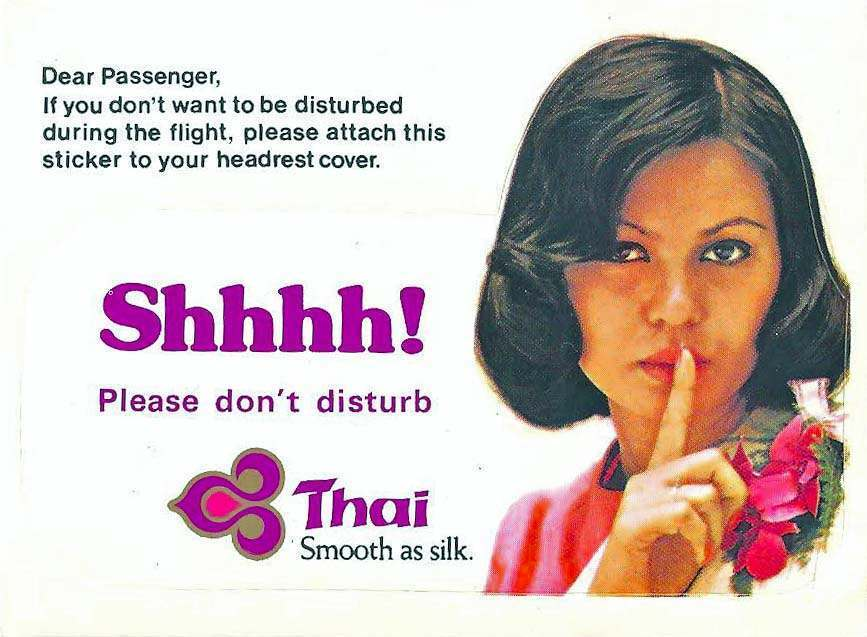 Thai Airlines do not disturb sign