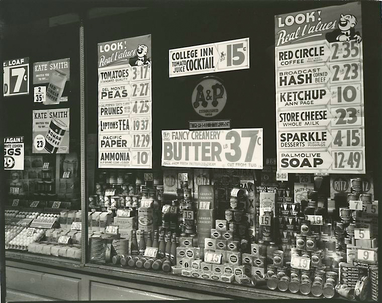 A&P, 246 Third Avenue, Manhattan, 1936. Note the prominent ads for A&P's private brands.