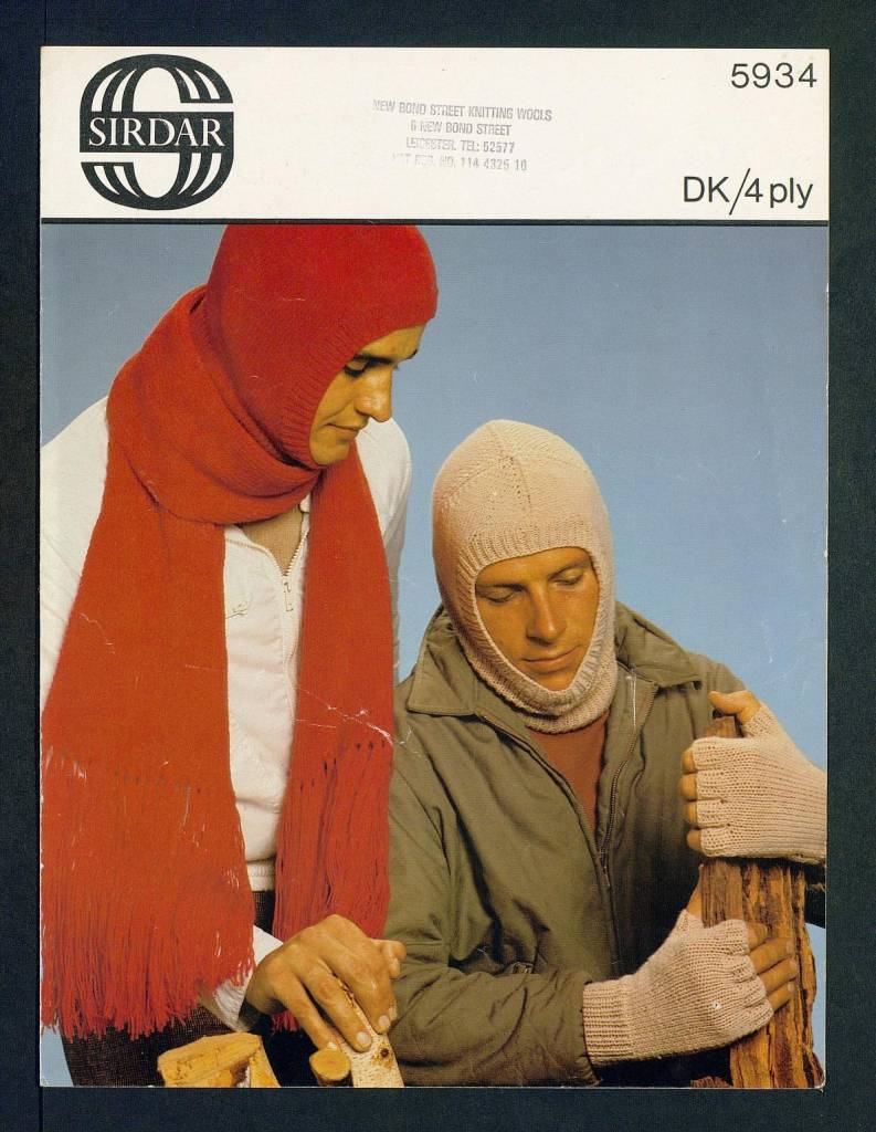 Balaclava, scarf and half mitts 1970s